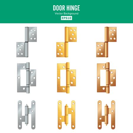 Door Hinge Vector. Set Classic And Industrial Ironmongery Isolated On White Background. Simple Entry Door Metal Hinge Icon. Stainless Steel, Copper, Bronze, Gold, Brass. Stock Illustration
