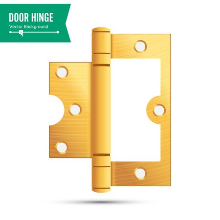 ferretería: Door Hinge Vector. Classic And Industrial Ironmongery Isolated On White Background. Simple Entry Door Metal Hinge Icon. Gold, Brass. Stock Illustration Vectores