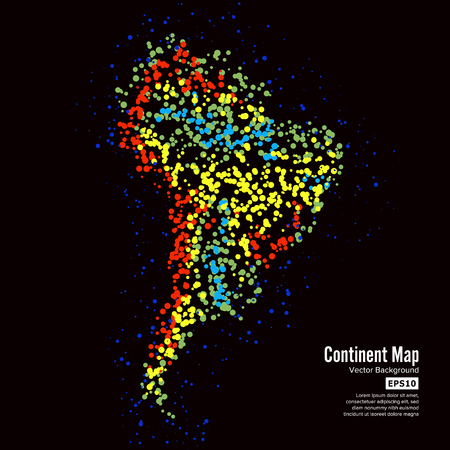 South America. Continent Map Abstract Background Vector. Formed From Colorful Dots Isolated On Black.