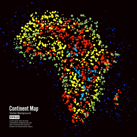 Africa. Continent Map Abstract Background Vector. Formed From Colorful Dots Isolated On Black.