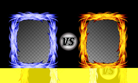 flame letters: Versus Vector Symbol With Fire Frames. VS Letters. Flame Fight Background Design. Competition Concept Illustration