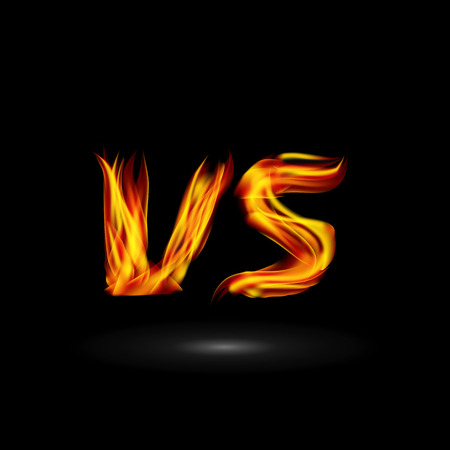 flame letters: Versus Vector. Flame Letters Fight Background Design. Competition Icon