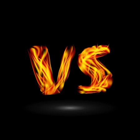 Versus Vector. Flame Letters Fight Background Design. Competition Icon