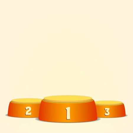 Leeres Vektor-Podium. Round Winners Sockel-Konzept mit ersten, zweiten und dritten Platz für Award-Zeremonie. Gelbe 3D-Bühne. Realistische Plattform.