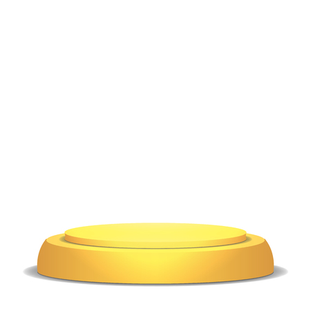 market place: Empty Vector Podium. Isolated On White Background. Yellow 3D Stage. Realistic Platform. Round Pedestal Concept.