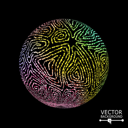 distort: Luxury Sphere With Swirled Stripes. Vector Glowing Composition