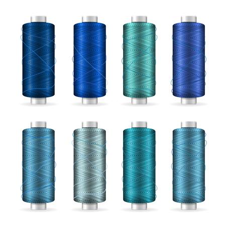needlecraft: Thread Spool Set. Bright Plastic Bobbin. Isolated On White Background For Needlework And Needlecraft. Stock Vector Illustration