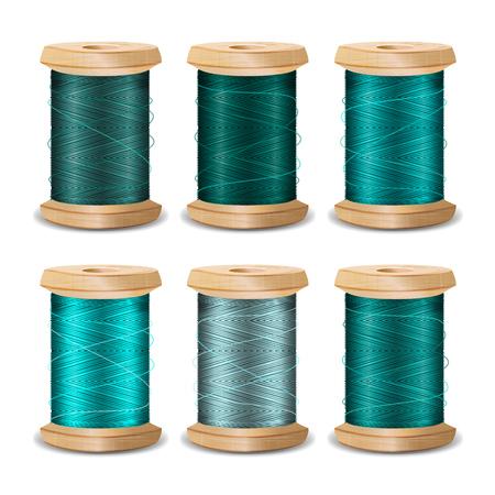 needlecraft: Thread Spool Set. Bright Old Wooden Thread Spool Bobbin. Isolated On White Background For Needlework And Needlecraft. Stock Vector Illustration