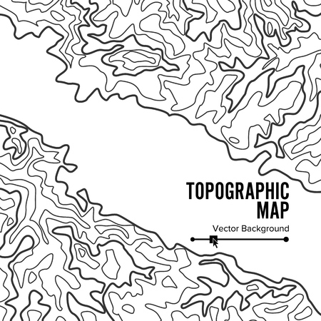 cartography: Contour Topographic Map Vector. Geography Wavy Backdrop. Cartography Graphic Concept.