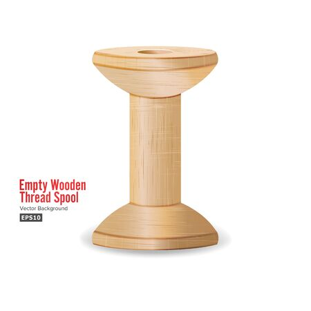 Empty Wooden Thread Spool. Classic Old Bobbin. Isolated On White Background For Needlework And Needlecraft. Vector Illustration