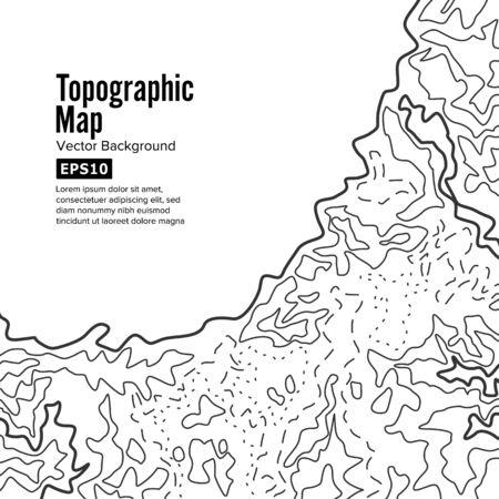 地形図の背景概念。標高。Topo コンター マップの背景。白で隔離  イラスト・ベクター素材