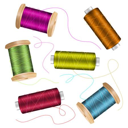needlecraft: Thread Spool Set Background. For Needlework And Needlecraft. Stock Vector Illustration Of Yarn Or Cotton Bobbin Reels. Isolated On White Background