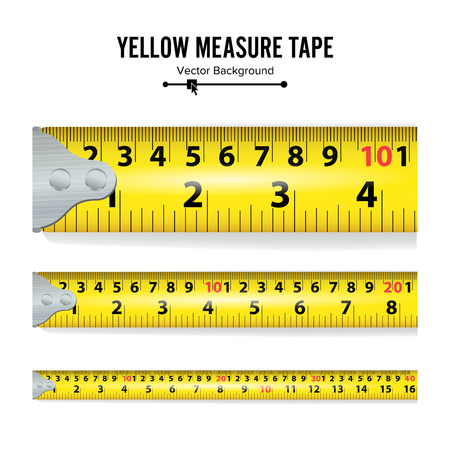 centimeters: Yellow Measure Tape Vector. Measure Tool Equipment In Centimeters. Several Variants, Proportional Scaled.