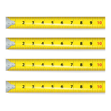 proportional: Yellow Measure Tape Vector. Centimeter And Inch. Measure Tool Equipment Illustration Isolated On White Background. Several Variants, Proportional Scaled.