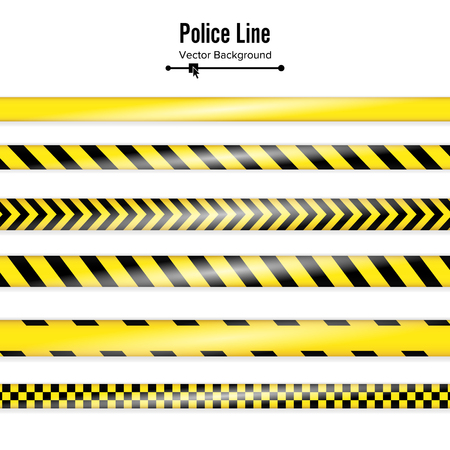 quarantine: Yellow With Black Police Line. Danger Security Quarantine Tapes. Isolated On White Background. Vector Illustration