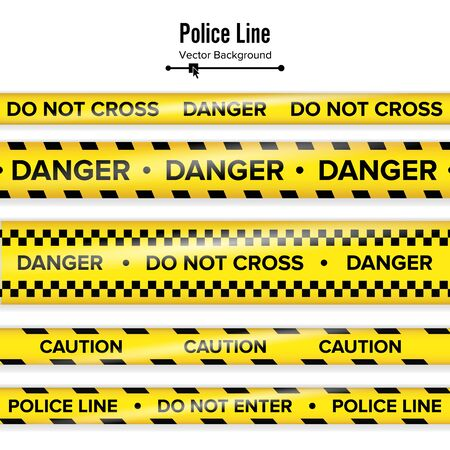 quarantine: Yellow With Black Police Line. Do Not Cross, Danger, Caution. Danger Security Quarantine Tapes. Isolated On White Background. Vector Illustration