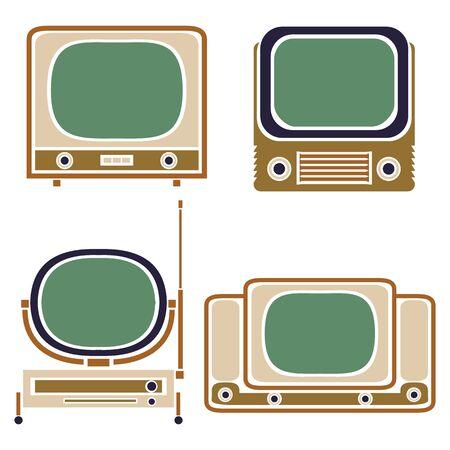 retro tv: Old TV. Vintage Vector Set. Retro Apparatus