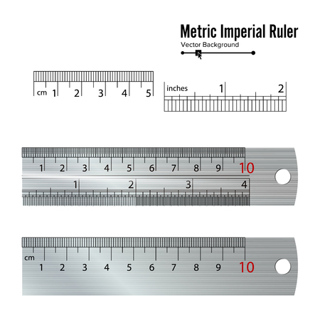 millimetre: Metric Imperial Rulers Vector. Centimeter And Inch. Measure Tools Equipment Isolated On White Background. Illustration