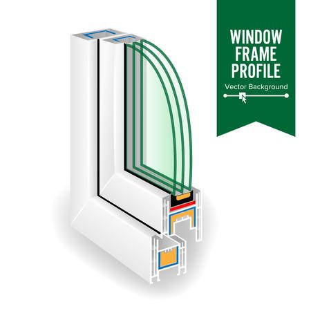 Profil de cadre de fenêtre en plastique. Coupe transversale efficace de la fenêtre. Trois verres transparents. Vecteur