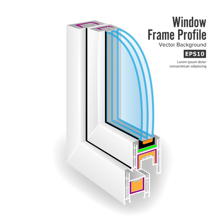 screen partition: Plastic Window Frame Profile. Structure Corner Window. Three Transparent Glass. Vector