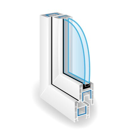 screen partition: Plastic Window Frame Profile. Two Transparent Glass. Illustration Of Structure