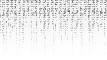 cryptogram: Binary Code Background Vector. Black And White Background With Digits