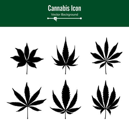 Marijuana Leaf Vector. Green Hemp Cannabis Sativa or Cannabis Indica Marijuana Leaf Isolated On White Background. Medical Plant  イラスト・ベクター素材