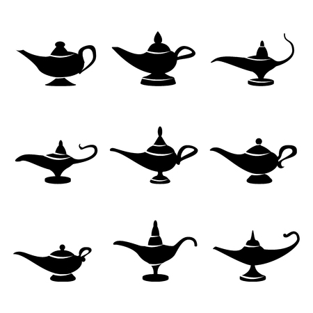 alladdin: Aladdin lamp Vector. Set Icons Aladdins lamp Signs. Illustration Wish And Mystery Souvenir
