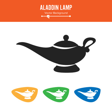 Aladdin Lamp Vector. Simple Black Silhouette Symbol On White Background. Illustration