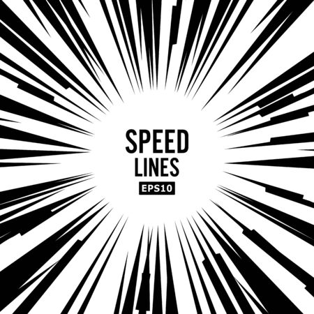 Comic Speed Lines Vector. Book Black And White Radial Lines Background. Manga Speed Frame.