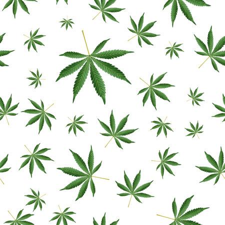 Cannabis Background. Marijuana Ganja Weed Hemp Leafs Seamless Pattern. Иллюстрация