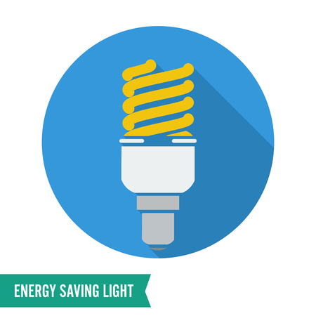 kilowatt: Energy Saving Light Vector Illustration. Fluorescent Light Bulb Icon.