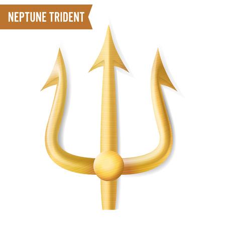 Nettuno Trident Vector. Sagoma 3D realistica in oro di Nettuno o arma Poseidon. Oggetto Forcella Forcella Forcella. Isolato su sfondo bianco.
