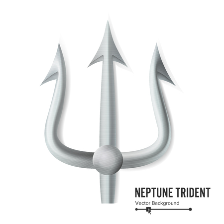 titans: Neptune Trident Vector. Silver Realistic 3D Silhouette Of Neptune Or Poseidon Weapon. Pitchfork Sharp Fork Object. Isolated On White Background. Illustration