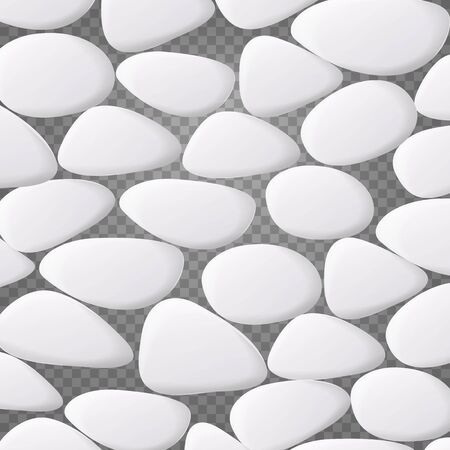 White Pebble Vector. Natural Realistic 3d Stones Of Different Shapes. Sea Rock Pebbles Isolated On Transparent Background