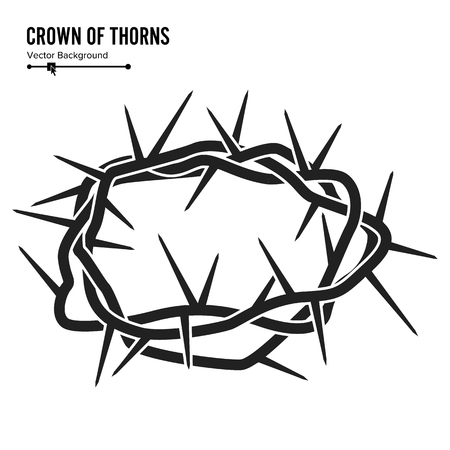 Crown Of Thorns. Silhouette Of A Crown Of Thorns. Jesus Christ. Isolated On White Background. Vector Illustration.