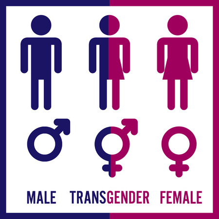 Transgender Male. Set Of Symbols. Isolated On White Background. Unisex. Stylized Human Icon Silhouettes. Stock Vector Illustration.