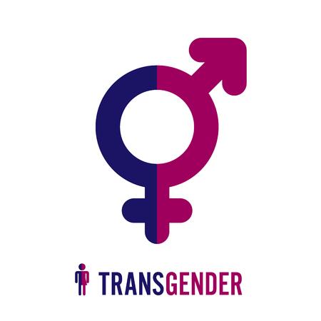 Transgender pictogram symbool. Combinatie van geslachtsymbolen. Mannelijk en vrouwelijk. Vector illustratie.