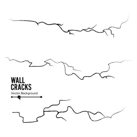 Wall Cracks Vector. Set Isolated On White Background. Illustration