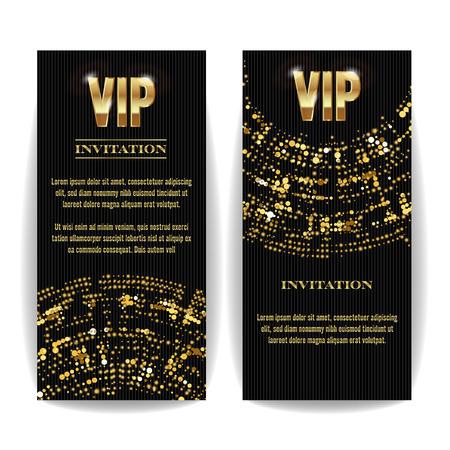 platinum: VIP Invitation Card Vector. Party Premium Blank Poster Flyer. Black Golden Design Template. Decorative Template Pattern. Mosaic Faceted Letters. Illustration