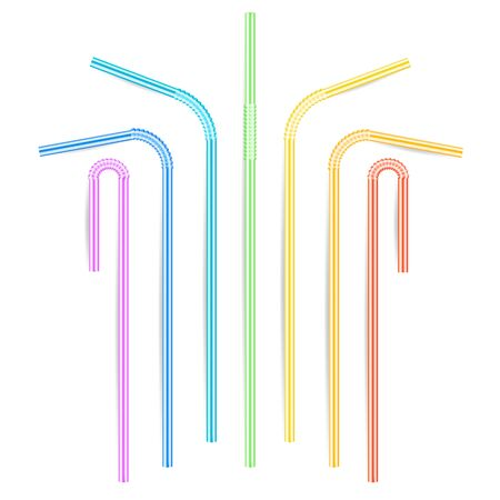 Drinking Straws Vector. Set Of 3D Striped Icon Isolated In White Background. Vector illustration Illustration