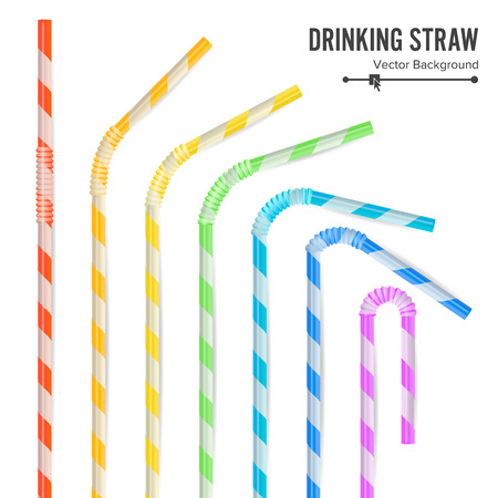Colorful Drinking Straws Set. 3D Striped Icon Isolated In White Background. Vector illustration