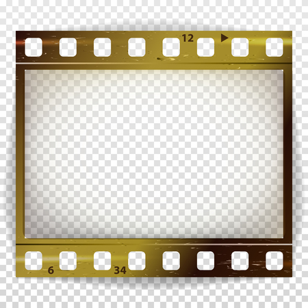 35 mm: Film Strip Vector. Cinema Of Photo Frame Strip Blank Scratched Isolated On Transparent Background.