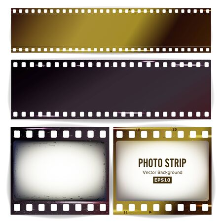 filmroll: Photo Strip Vector. Realistic Empty Frame Strip Blank. Grunge Scratched Template Isolated On Transparent Background. Illustration