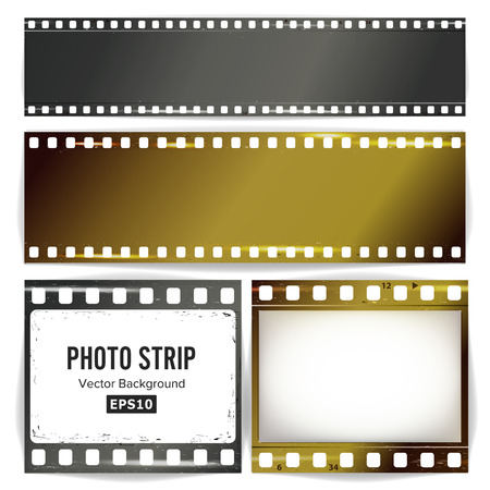 35 mm: Photo Strip Vector. Realistic Empty Frame Strip Blank. Grunge Scratched Template Isolated On White Background.
