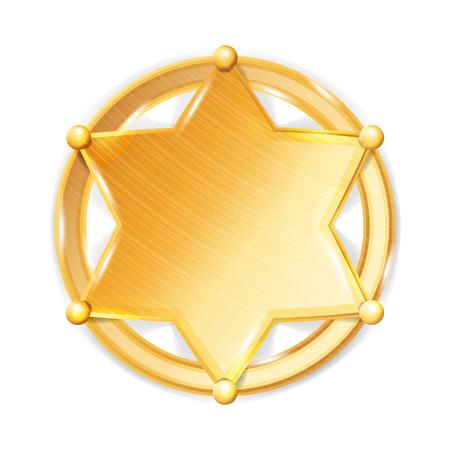 Sheriff Badge Star Vector. Police Golden Hexagonal Star Icon.