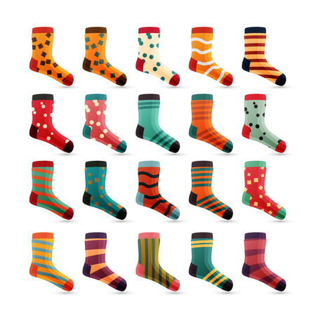 Child Socks Icons Vector. Colorful Cute Icons. Sock Set Isolated On White Background. Cotton Wear Colored. Vettoriali