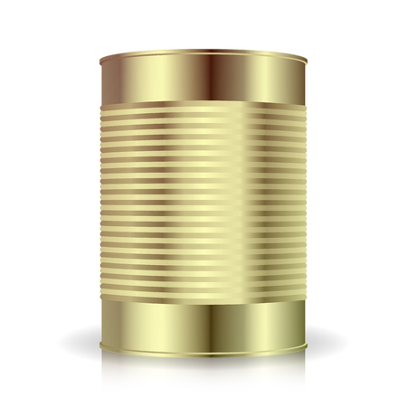 tincan: Metallic Cans Vector. Food Tincan Ribbed Metal Tin Can, Canned Food. Illustration