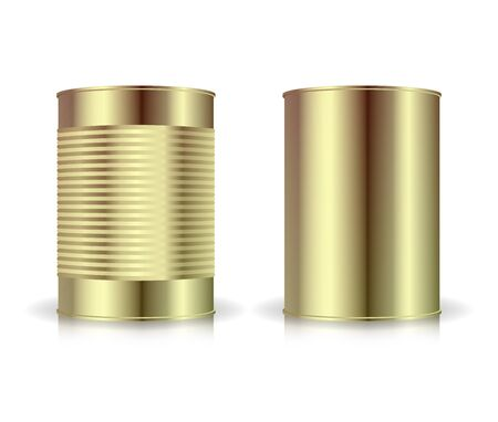 Metallic Cans Vector Set. Gold Tin Can. Blank For Your Design. Realistic Empty Product Packing Template With Shadow And Reflection