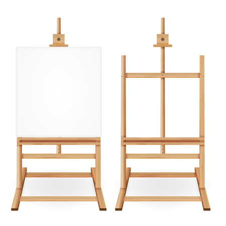 Paint Desk Vector. Wooden Easel With Empty White Paper. Isolated On White Background. Realistic Painter Desk Set. Drawing Whiteboard